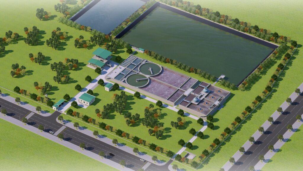 Phối cảnh Nhà máy xử lý nước thải dệt nhuộm tập trung Khu công nghiệp Minh Hưng – Sikico, tỉnh Bình Phước với công suất giai đoạn 1: 10.000 m3/ ngày đêm
